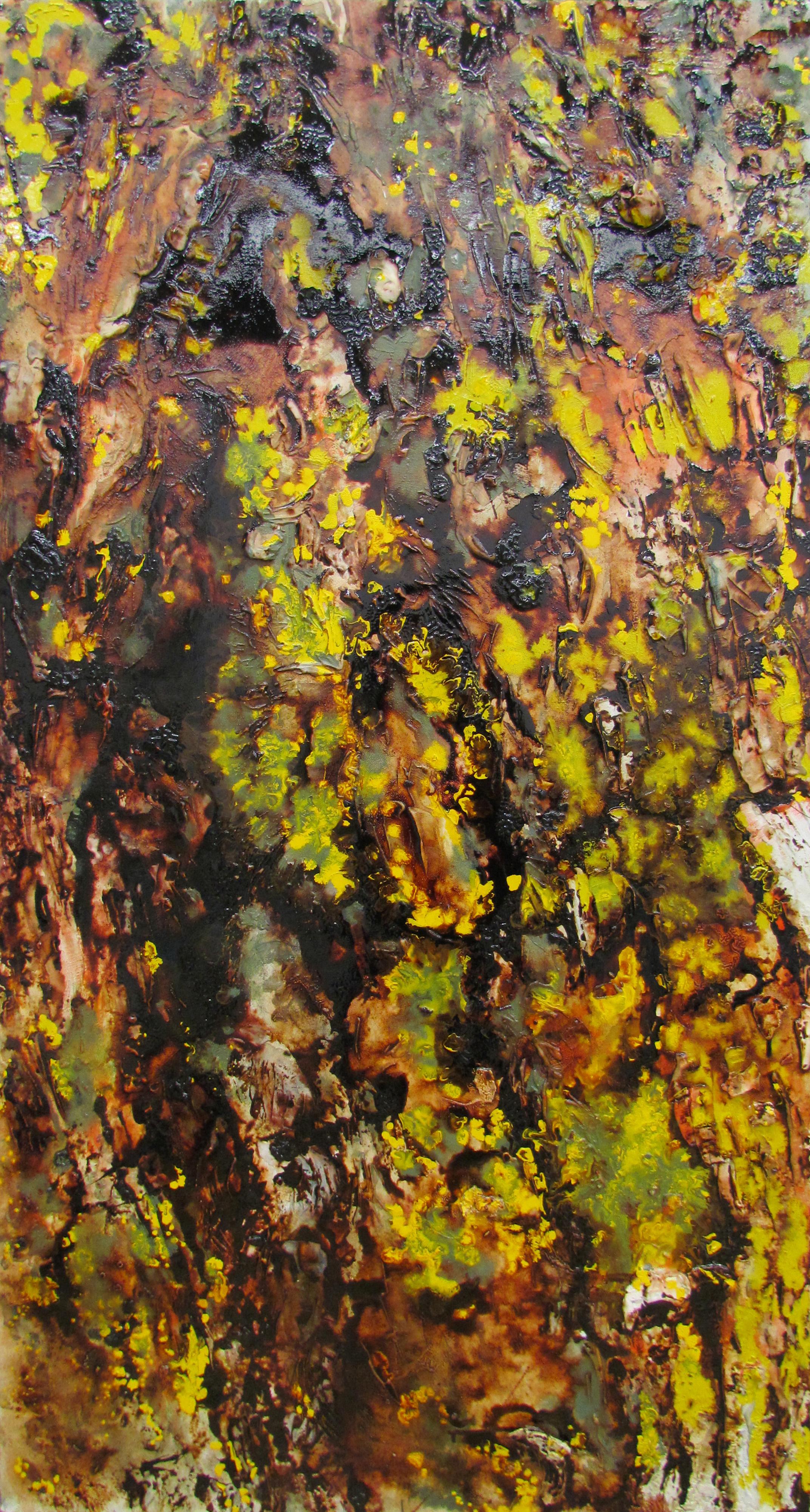Tree Trunk III / 木の幹III   gofun, cashew lacquer on wooden board / 胡粉、カシューニス
