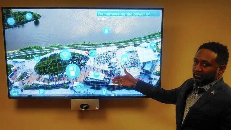 """Aurora Chief Information Officer Michael Pegues explains the """"Smart Park"""" concept for RiverEdge Park. (City of Aurora)"""