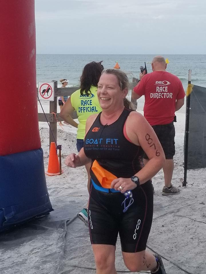 Goat Carolyn exiting the swim of her very first triathlon!