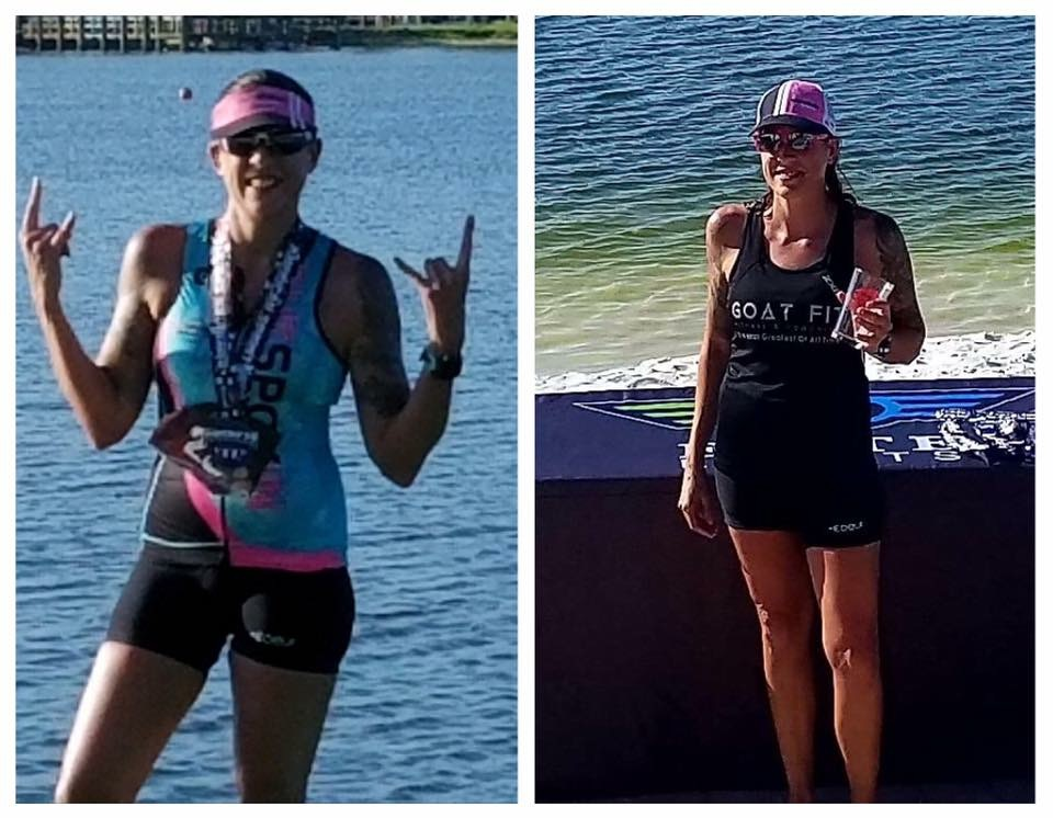 Jenn taking the top spot in her duathlon in Sarasota.