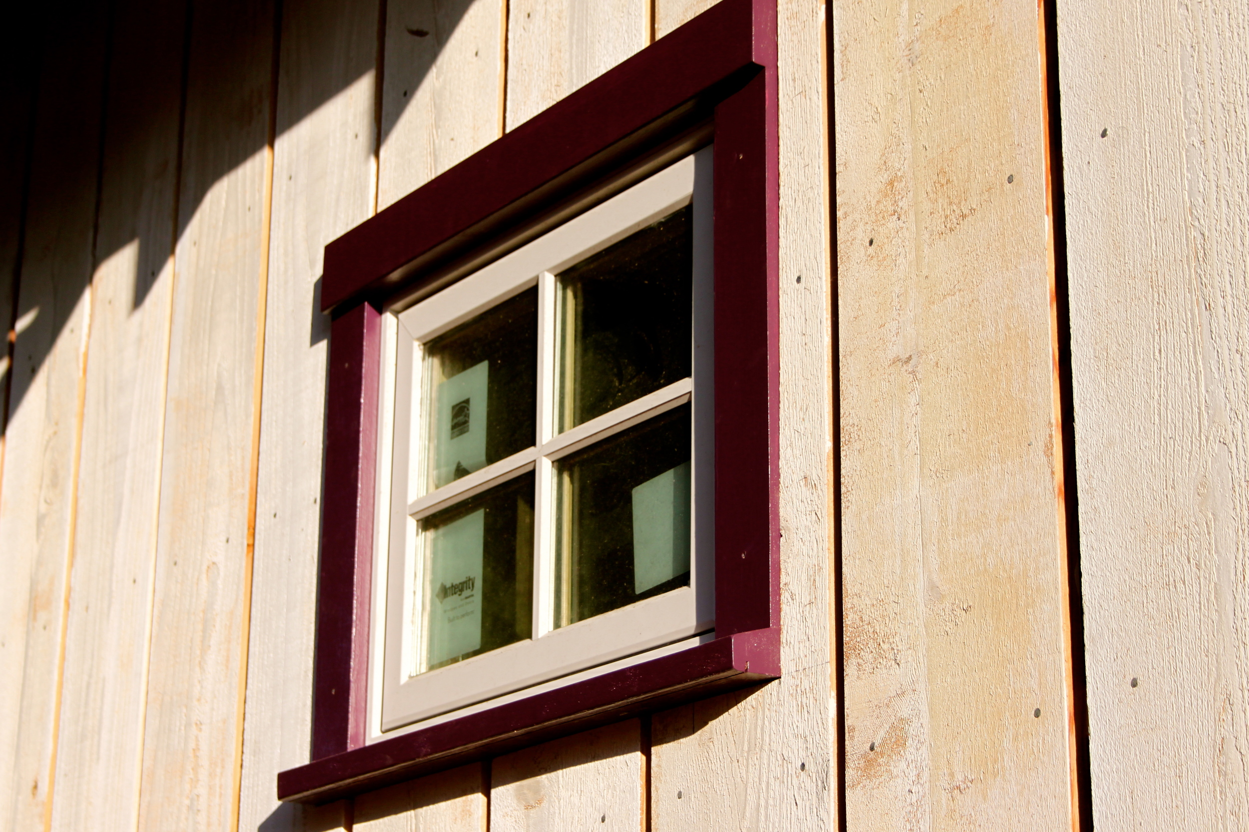 We also built the first window casing and installed it as a single unit using pocket-hole joinery to preserve the integrity of the surround. It's also painted!