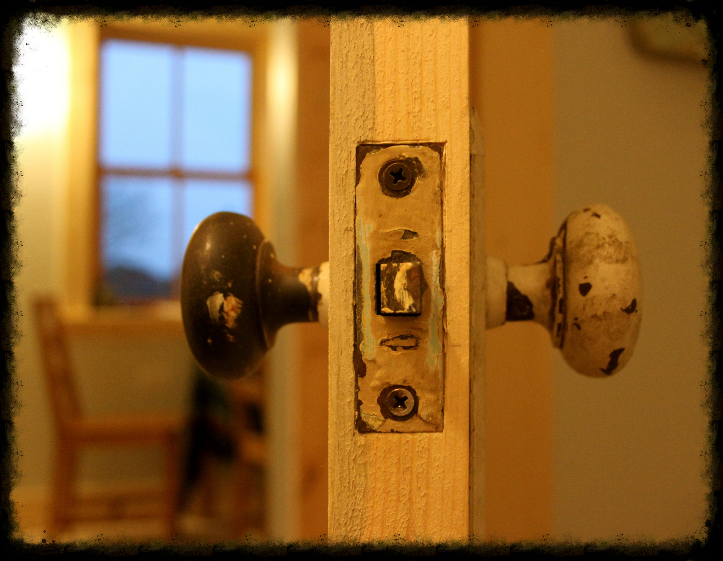 Salvaged mortise lock - instant shabby chic!