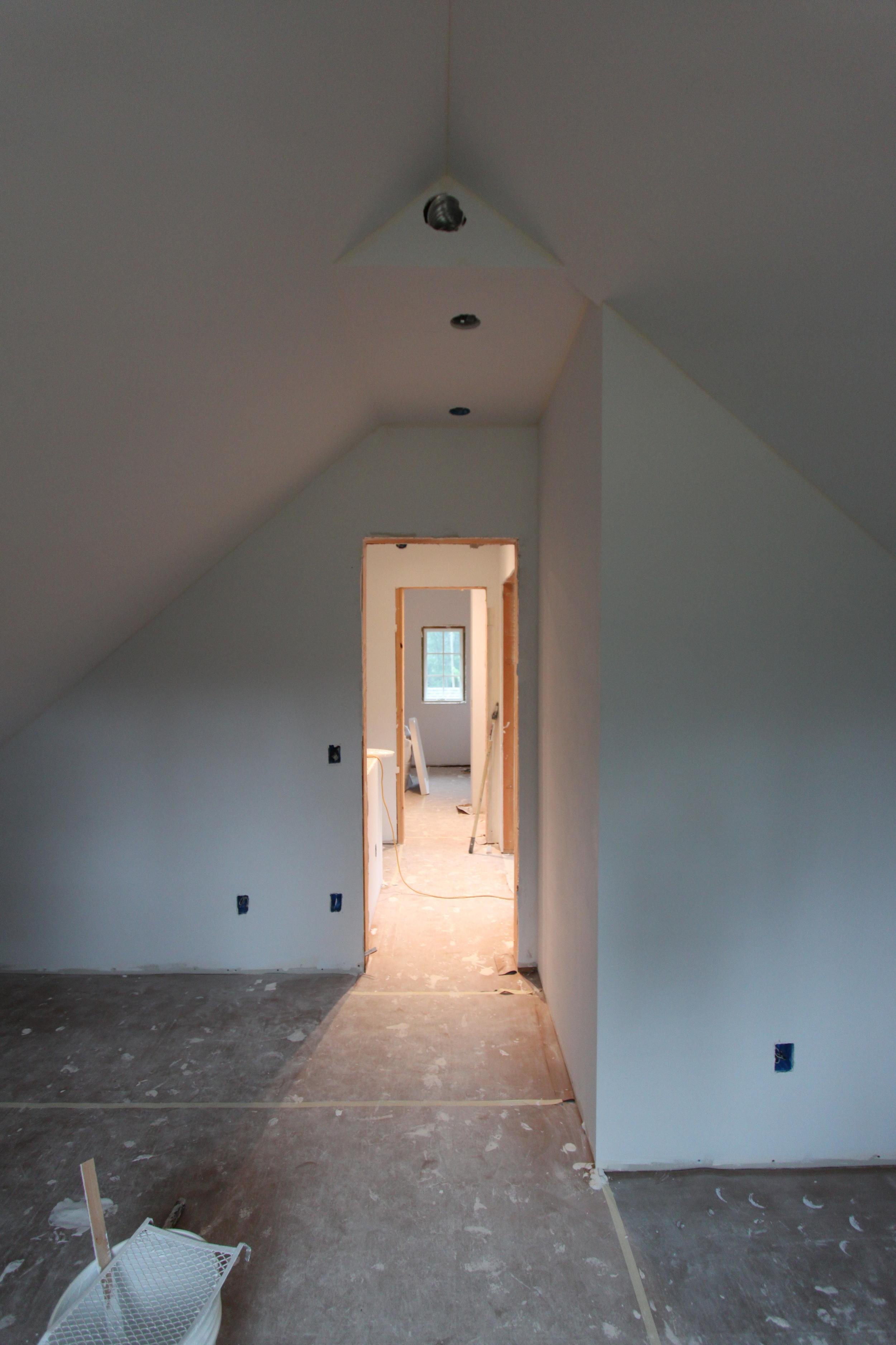 sloped ceiling bedroom at ladybug house