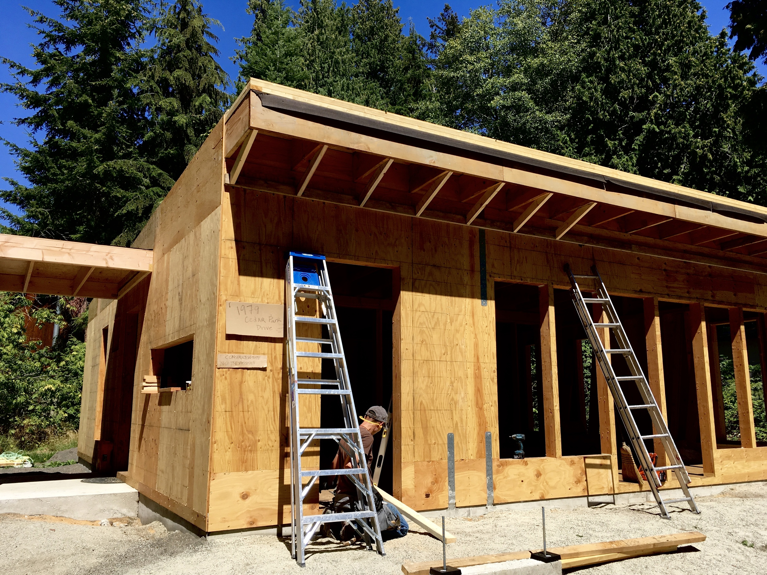Our front facing soffit is deep for lighting and audio speakers (music for gardening). We used leftover 2x4 material for the framing. We've virtually no wood waste on the project.