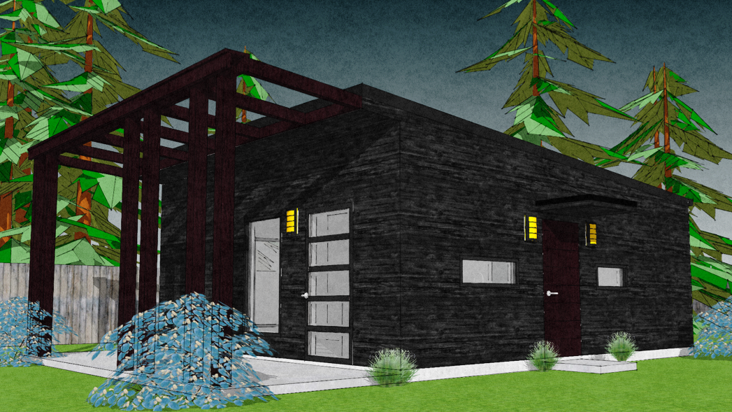 No. 55 - Red Pillars - This modern one bedroom, one bath house is stylish, energy-wise, inexpensive & simple to build.Download the FREE study plan or buy the entire plan!