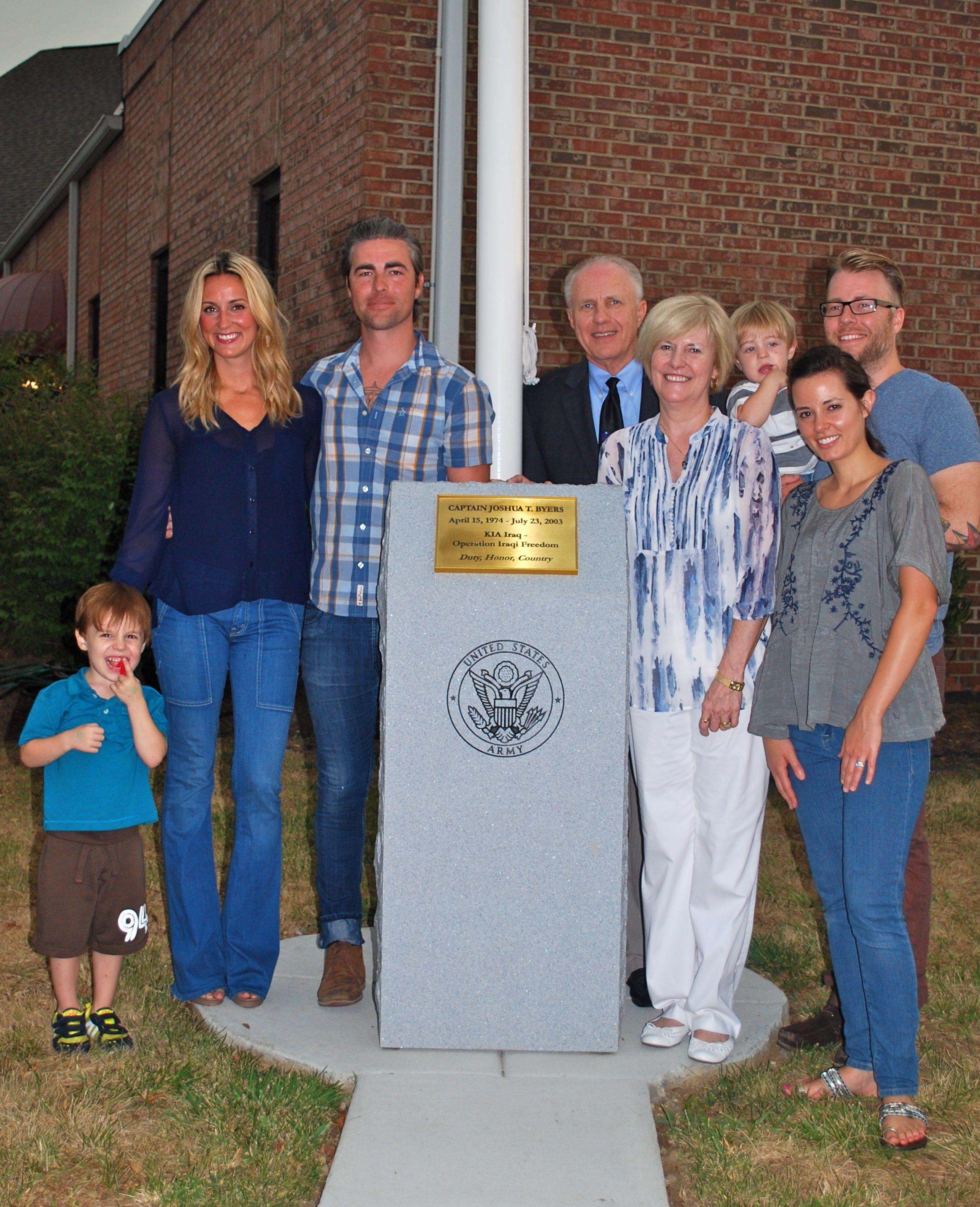 The Byers family at Trinity Baptist Church flagpole dedication. 2012