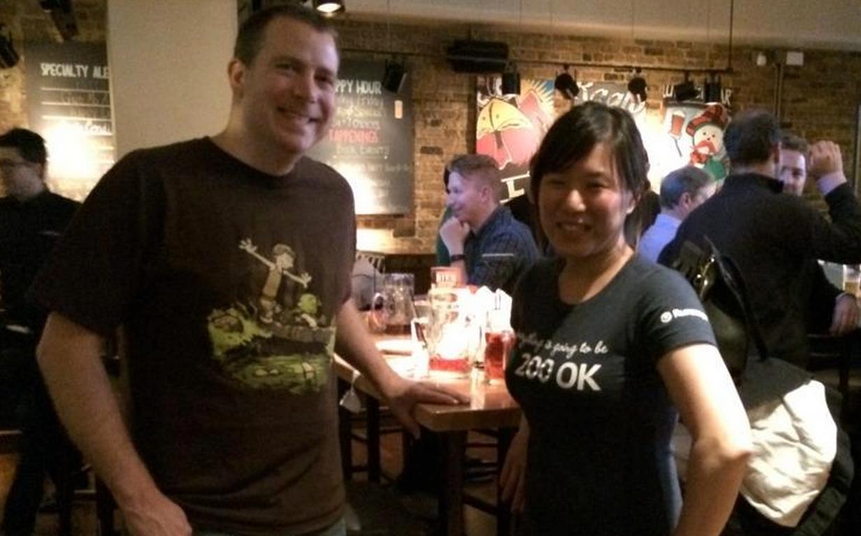 Jerry Yoakum  ( Expedia  Affiliate Network API) and  Emmelyn Wang  ( uShip API), both fantastic Runscope users, enjoying some IPAs post API conference.