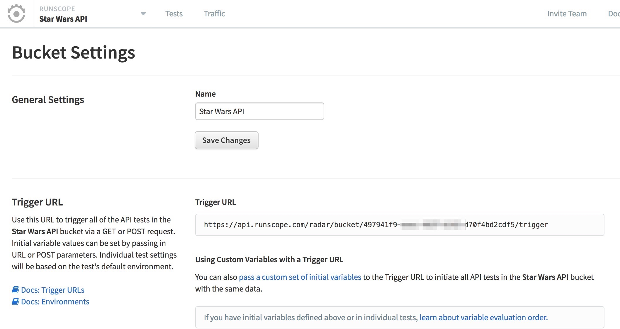 Runscope bucket settings page, highlighting Trigger URL section
