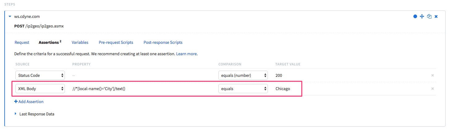 """Showing a new assertion added to our request step to extract the """"City"""" element from our XML response and compare it to the string """"Chicago""""."""