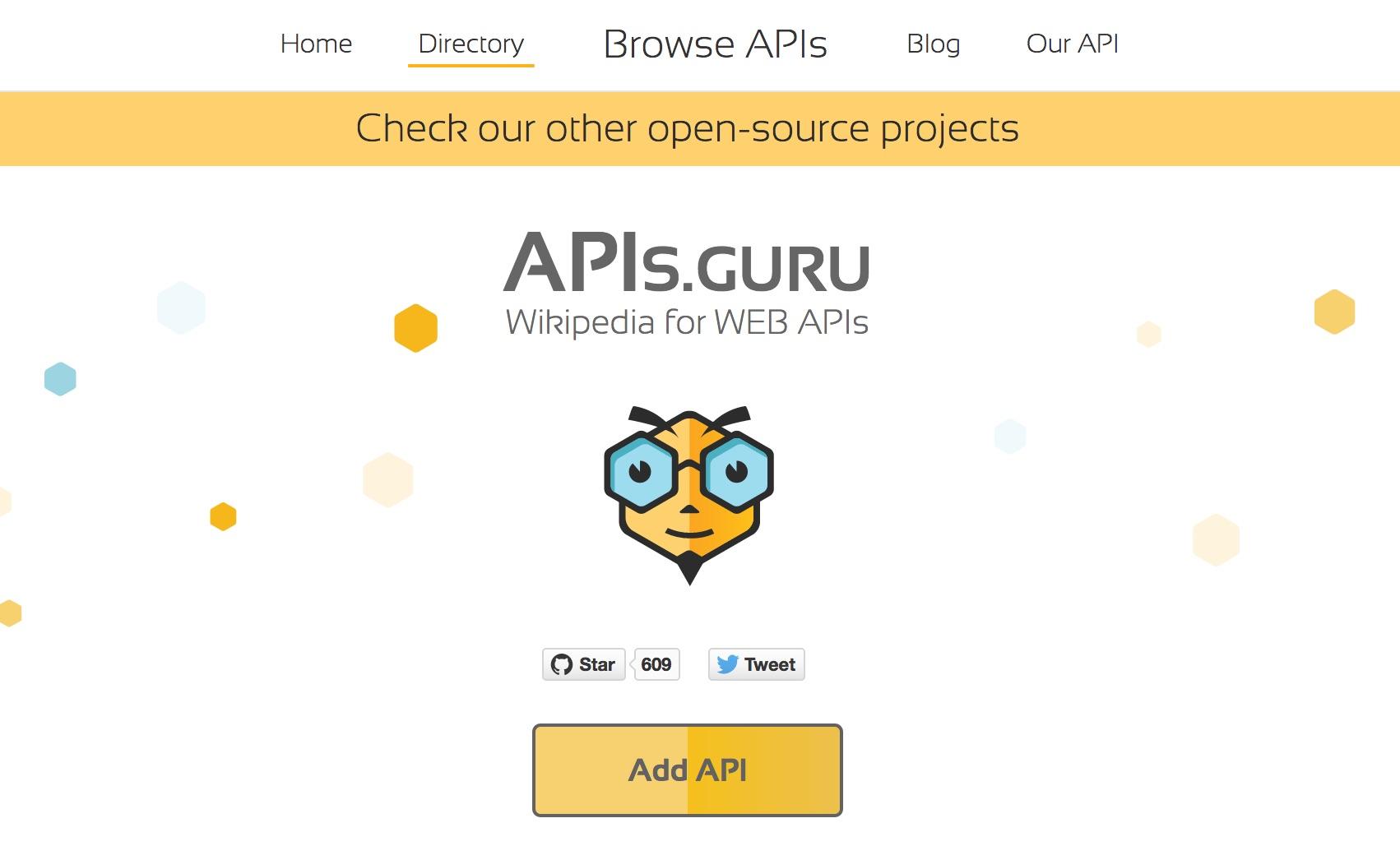 "The APIs.guru directory website, showing a big yellow button ""Add API""."