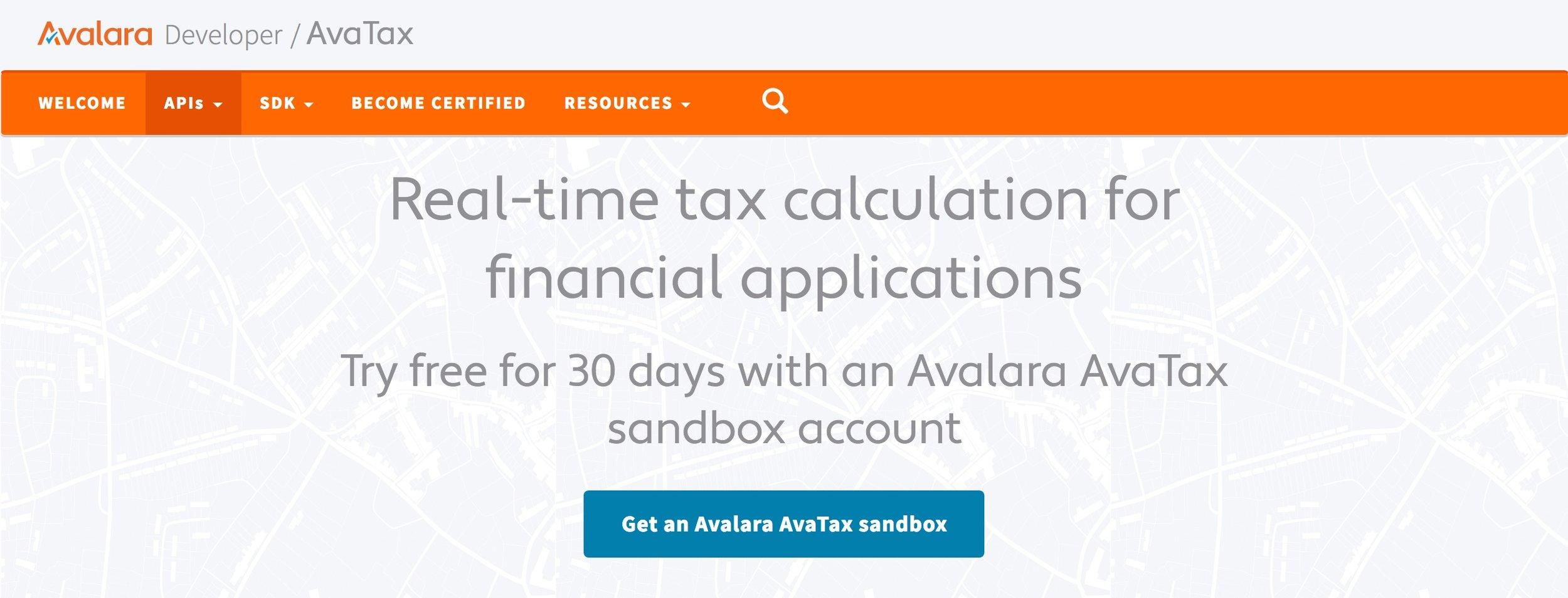 Avalara's AvaTax developer portal
