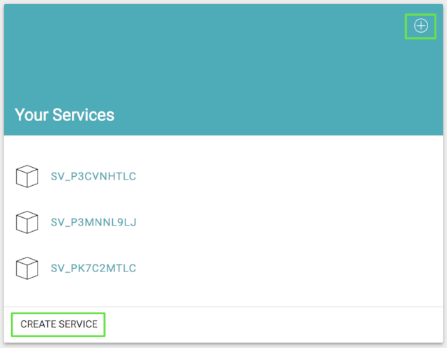 """Eventn's dashboard with the """"Create Service"""" button highlighted."""