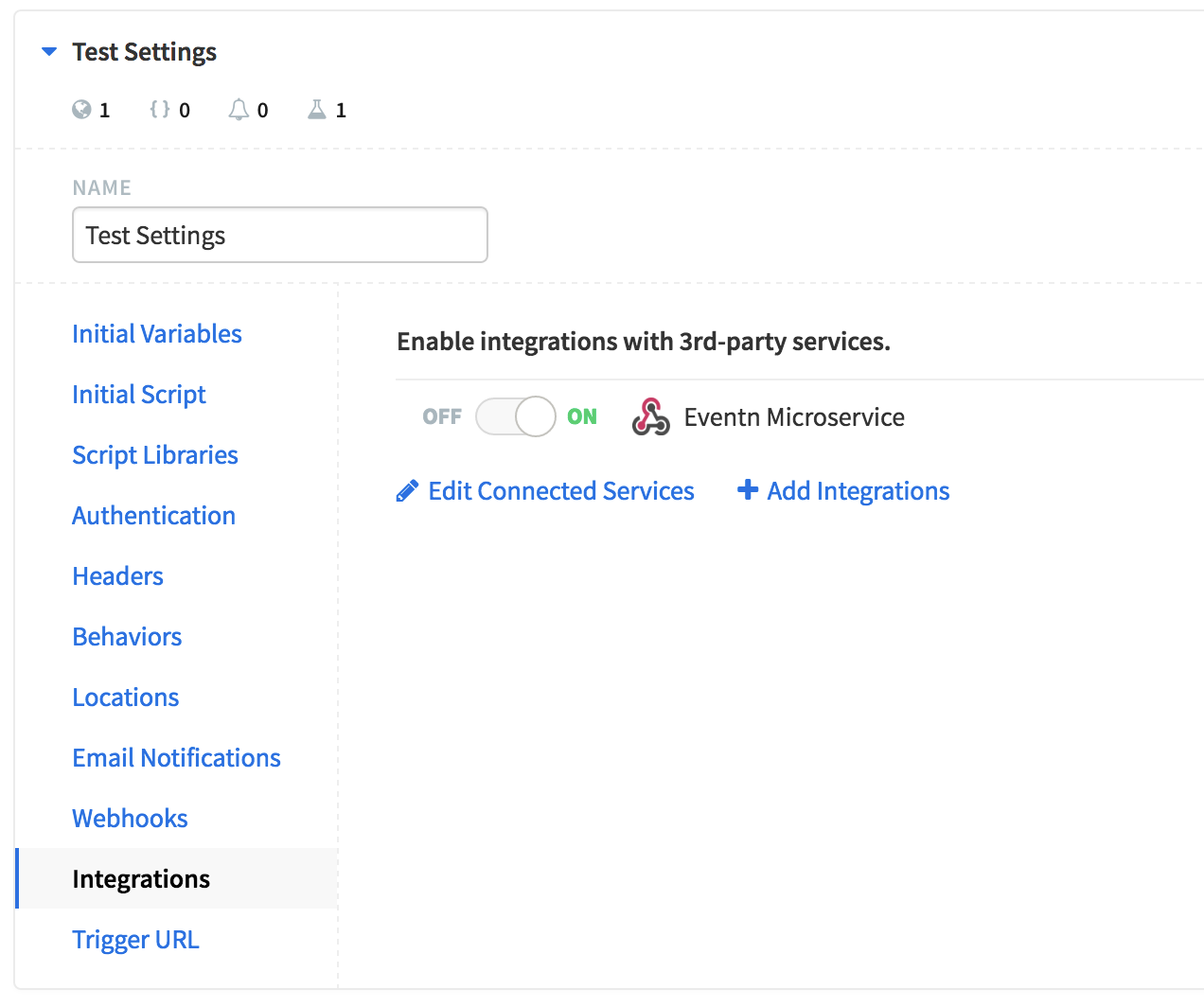 A Runscope API test environment settings, showing the Integrations menu selected on the left-hand side, and the Eventn microservice webhook toggled on.
