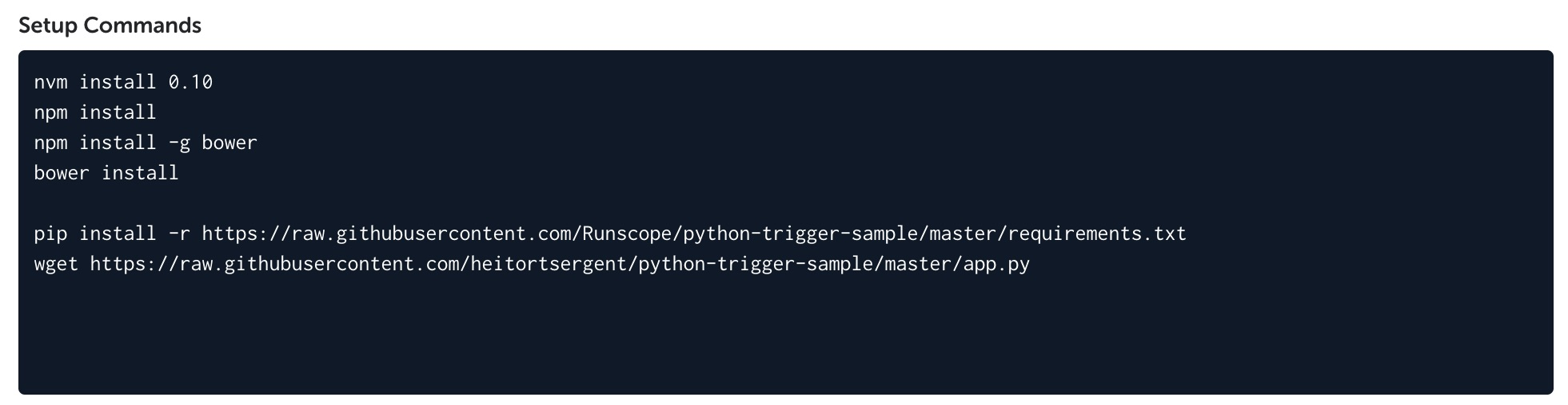 """A Codeship test project settings page, showing the """"Setup Commands"""" text box with the bash commands to install the script requirements and download the Python script"""