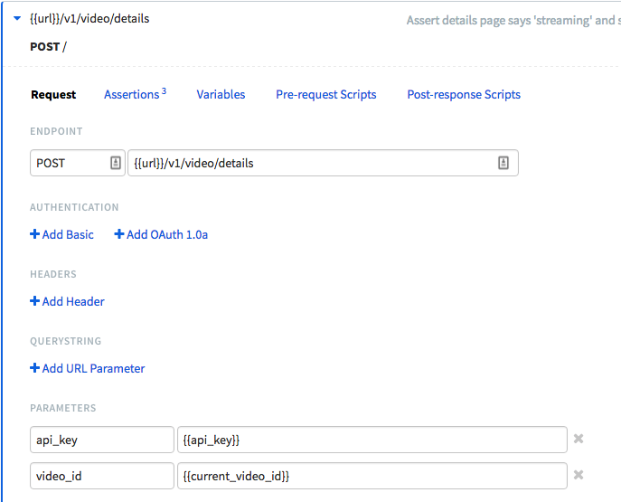 Runscope request step detail view of a POST request to {{url}}/v1/video/details, with the query parameters of api_key and video_id