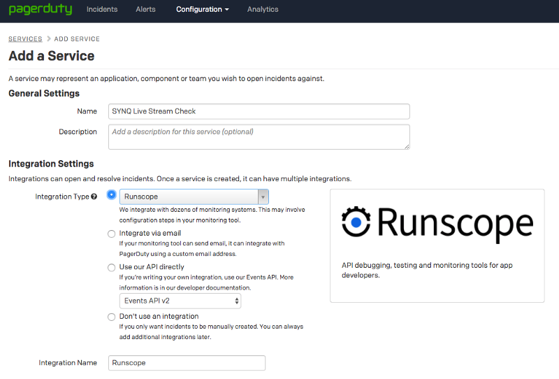 PagerDuty's Services > Add Service screen showing the integration settings for Runscope