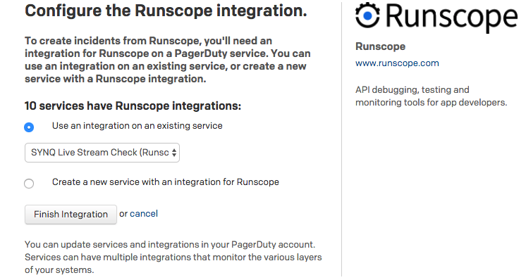 Runscope's and PagerDuty integration page setup, showing the selected service from the PagerDuty's account