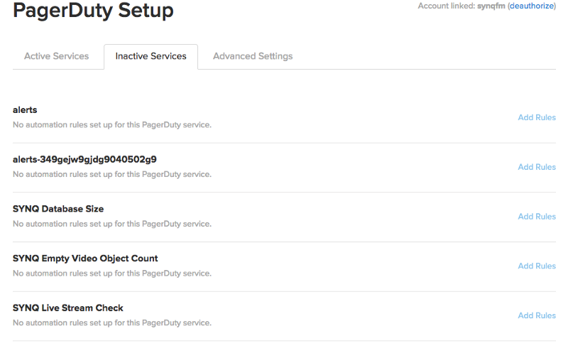 """StatusPages's Inactive Services tab, showing a list of connected PagerDuty options and the """"Add Rules"""" link on the right-hand side"""