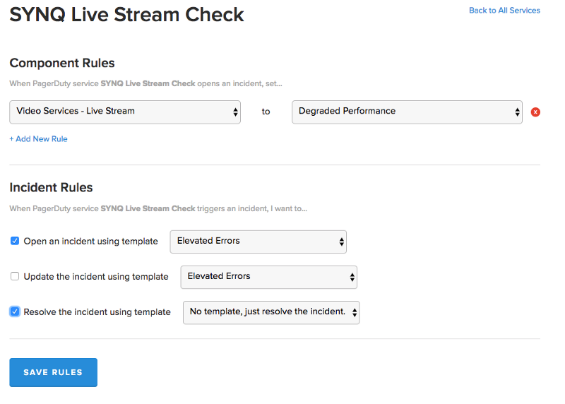"""The """"Add Rules"""" detail page of the PagerDuty integration, showing the settings connecting the Live Stream feature on PagerDuty to the setting that StatusPage should show in case of an incident, and also template rules to be set"""