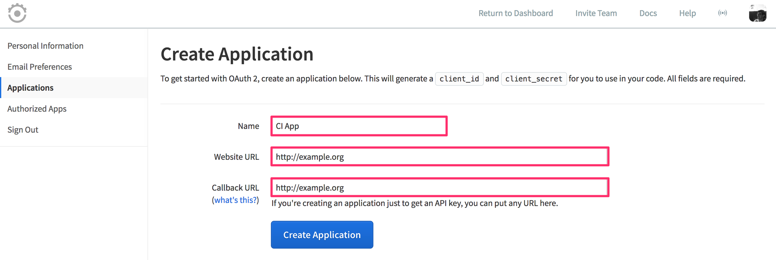 Runscope applications page displaying the Create Application page with dummy values