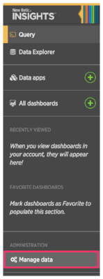 New Relic Insights highlighting Manage Data option on left-hand side menu