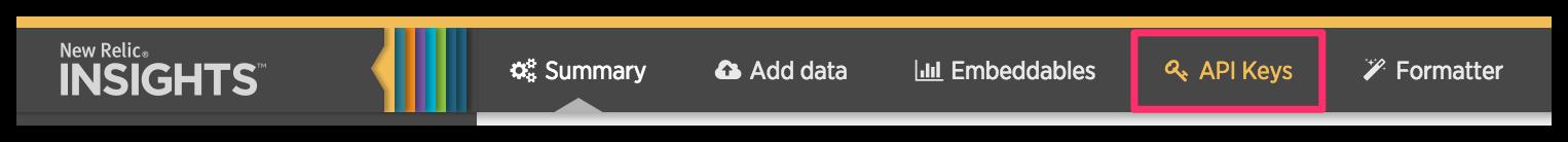 New Relic Insights highlighting API Keys option on top bar