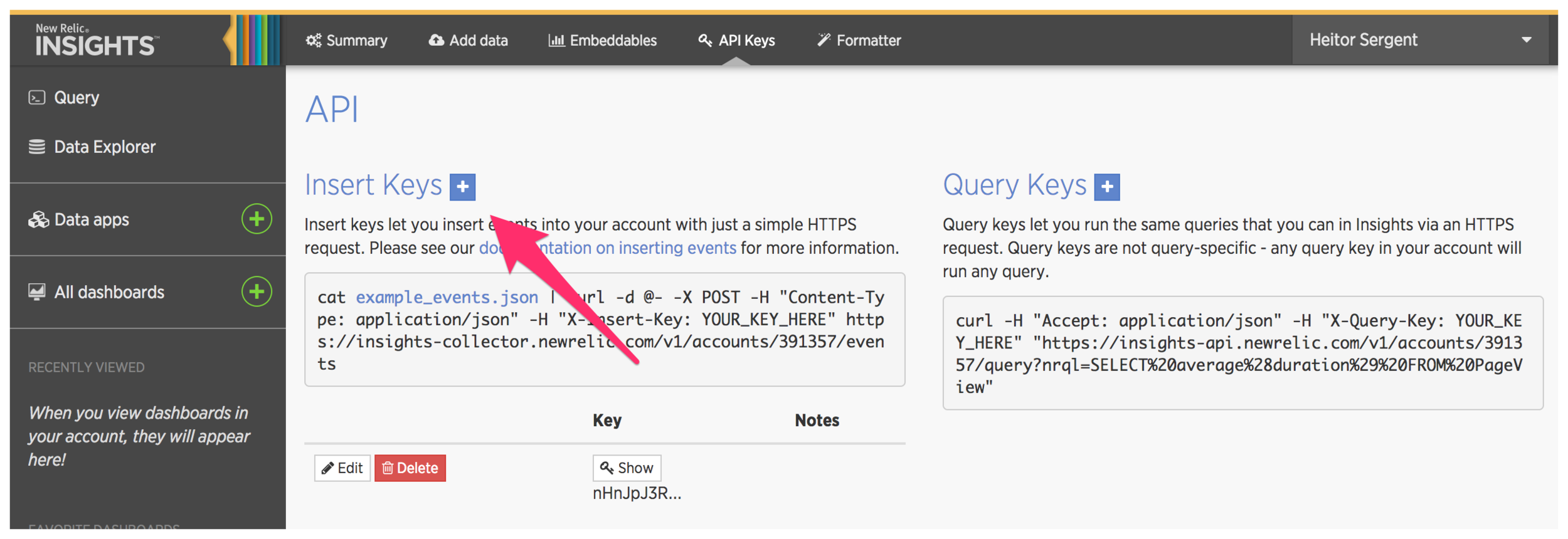 New Relic Insights with an arrow pointing to the + button next to Insert Keys