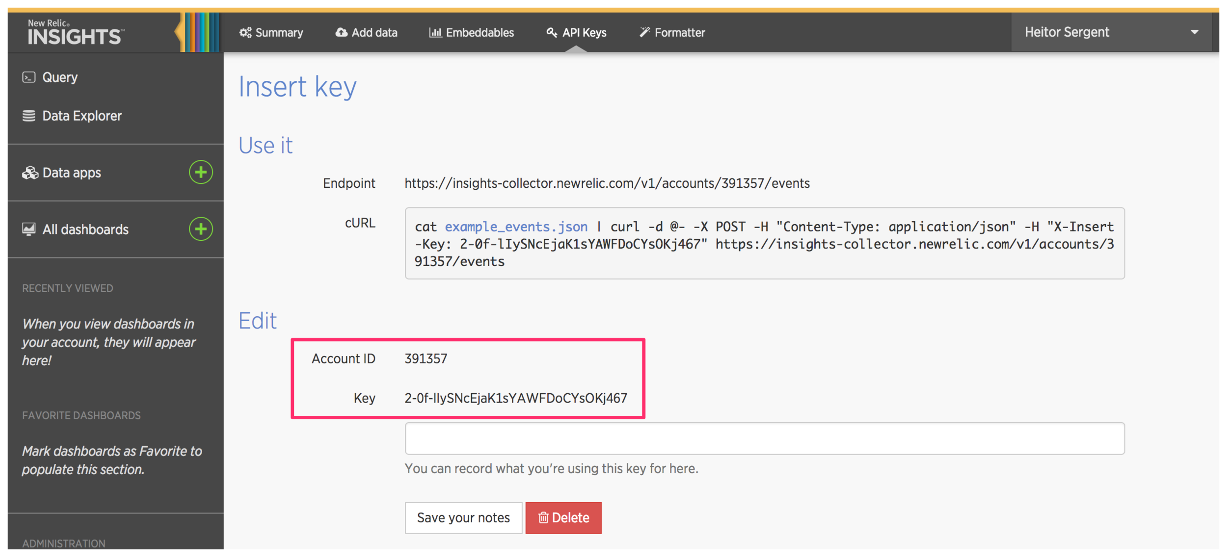 New Relic Insights highlighting the account id and key variables in the new insert key creation page