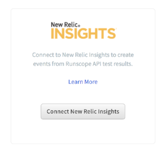 Runscope connected services page, highlighting the New Relic Insights integration and the button Connect New Relic Insights