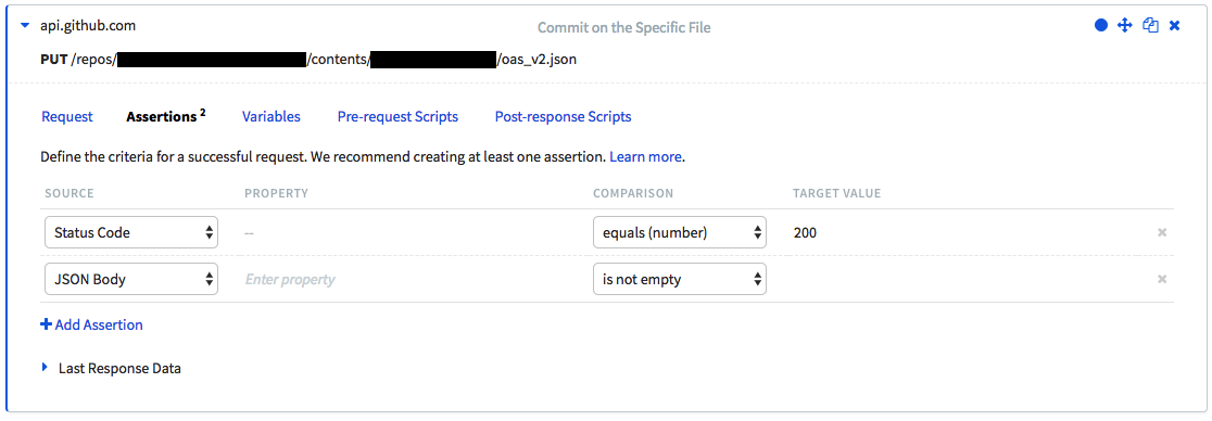 The Assertions tab of the previous Runscope PUT request step, showing the two assertions mentioned above set up.
