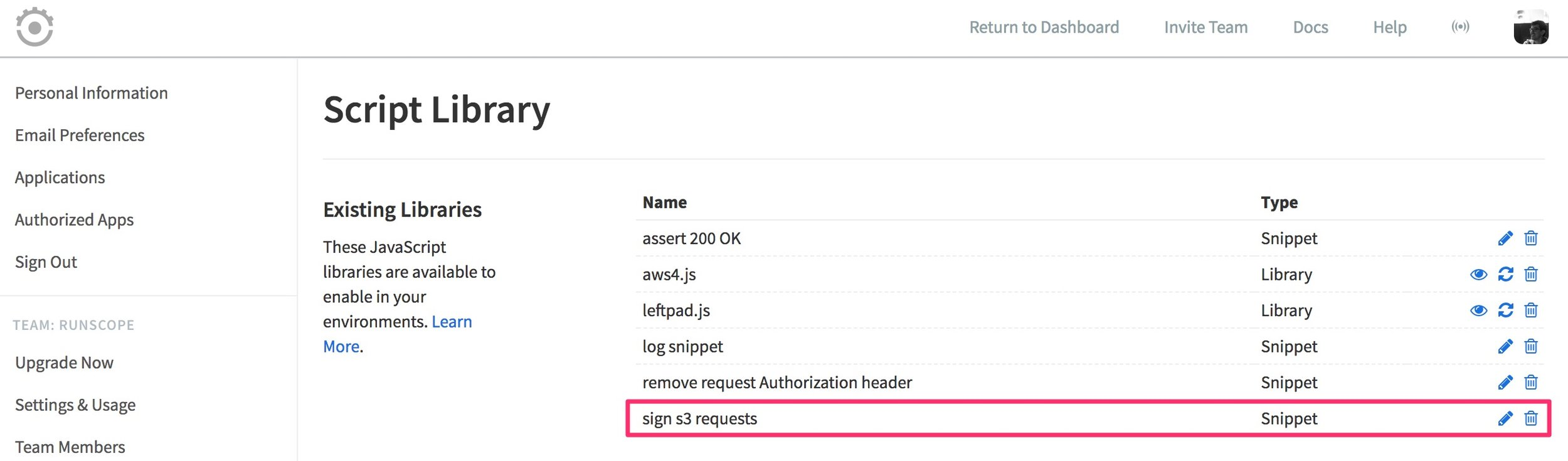 """Showing the Script Library page, and the Existing Libraries section that was shown in a previous image now includes the new Snippet """"sign s3 requests"""" in its list."""