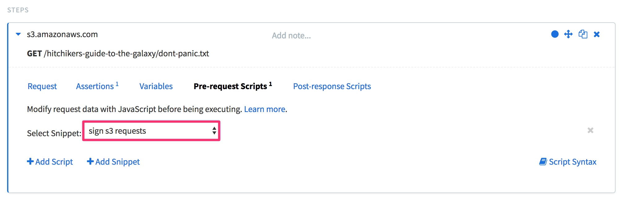 """The same request step in Editor mode from the previous image, but this time with the Pre-request Scripts tab selected. The """"Select Snippet:"""" dropdown menu has the """"sign s3 requests"""" snippet selected and highlighted."""