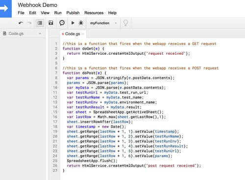 Capturing Webhooks with Google Sheets — Runscope Blog