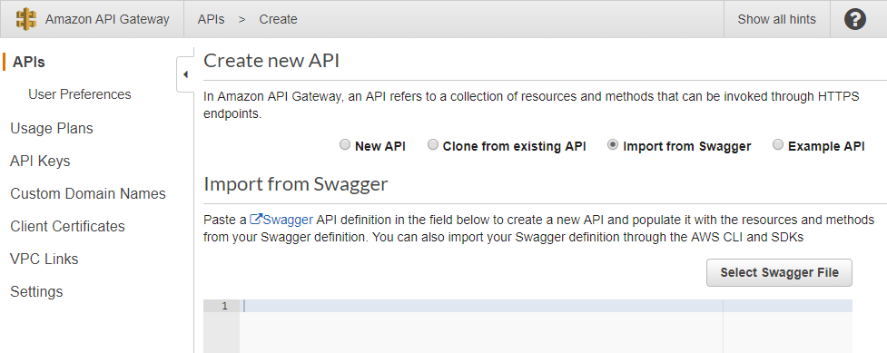 Creating a New API from Swagger Documentation