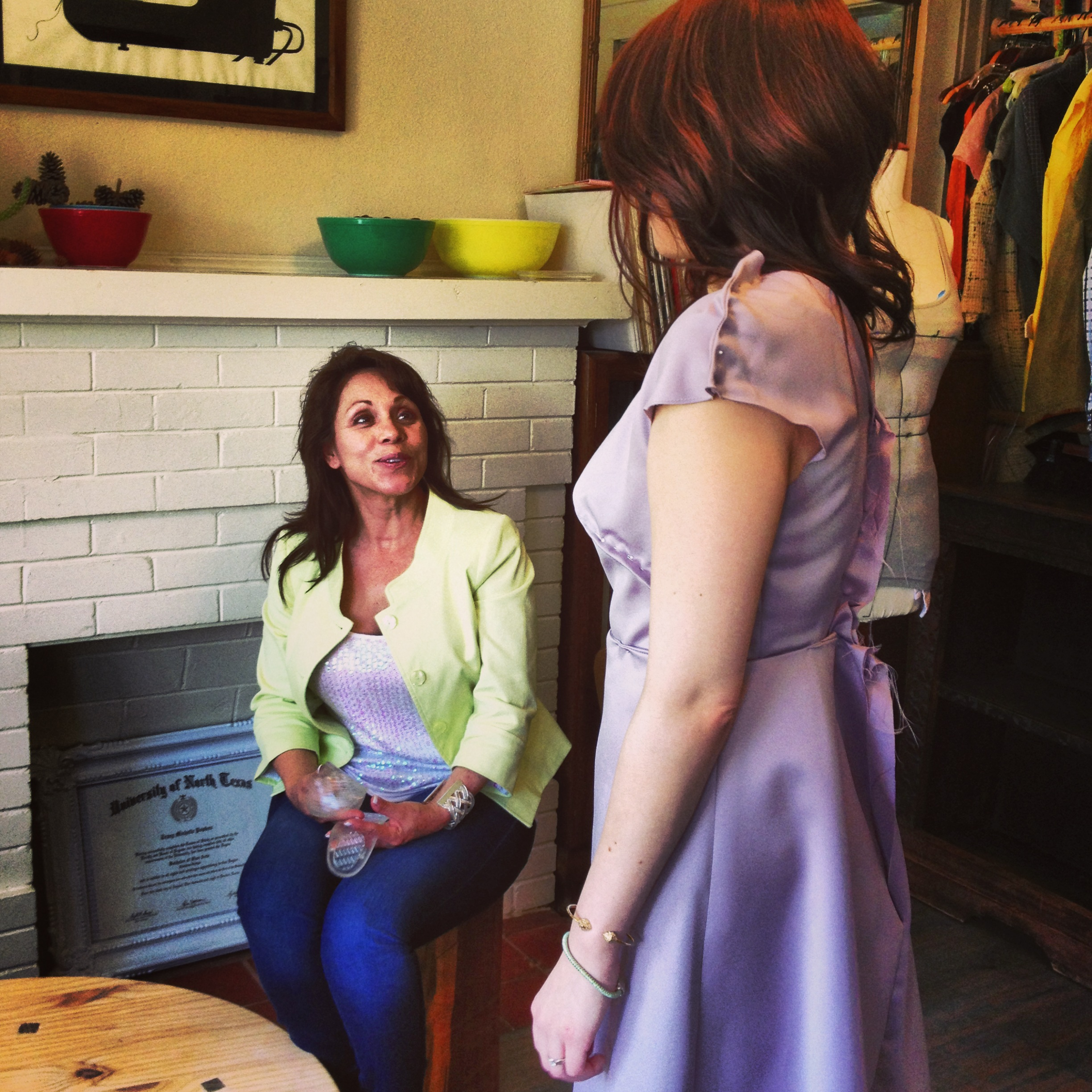Mother and daughter at the first fitting.
