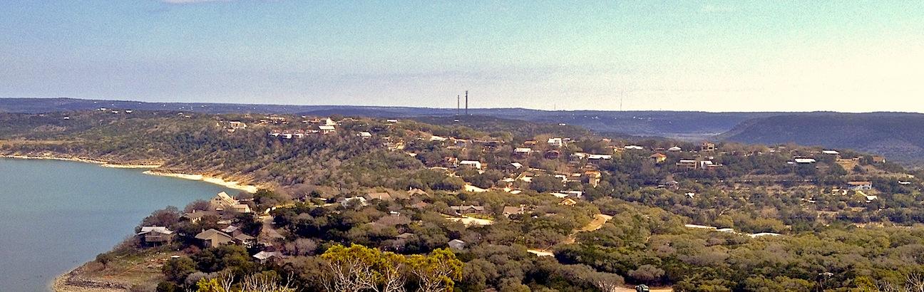 Panorama taken from atop Triple Peak looking back at the Village.
