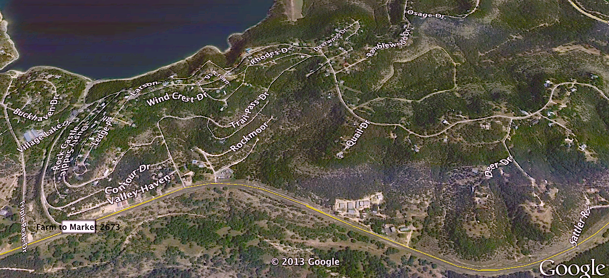 Google Earth birdseye view of The Village
