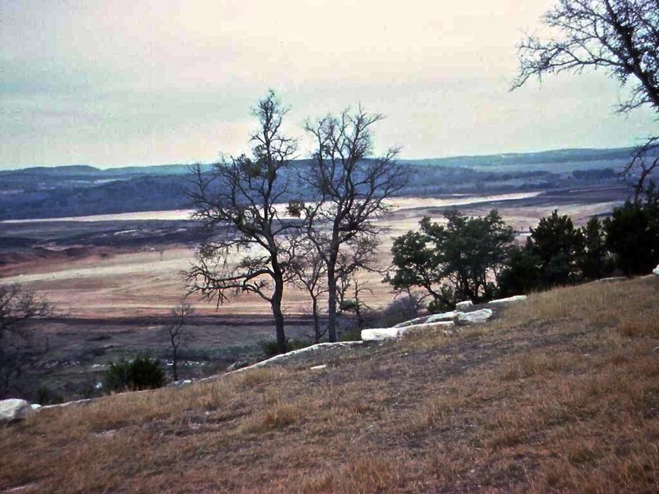 Photo taken north of dam, prior to lake