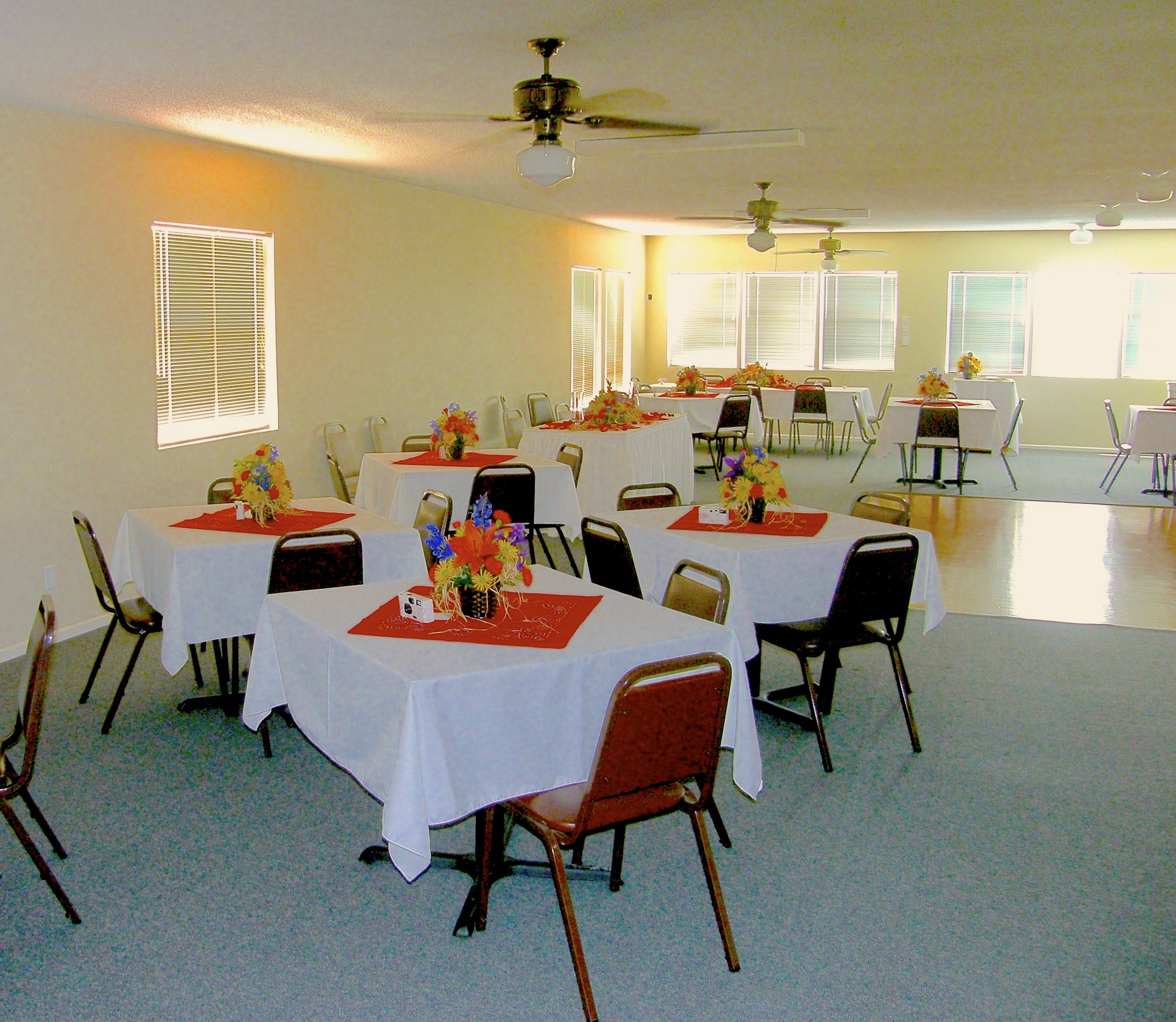 Example of Dinner / Party set-up in Clubhouse upstairs.
