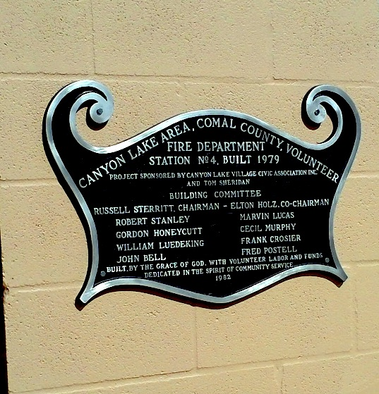 Village Firestation plaque thanking residents for use of the land.  (Station moved to IslandView Dr)
