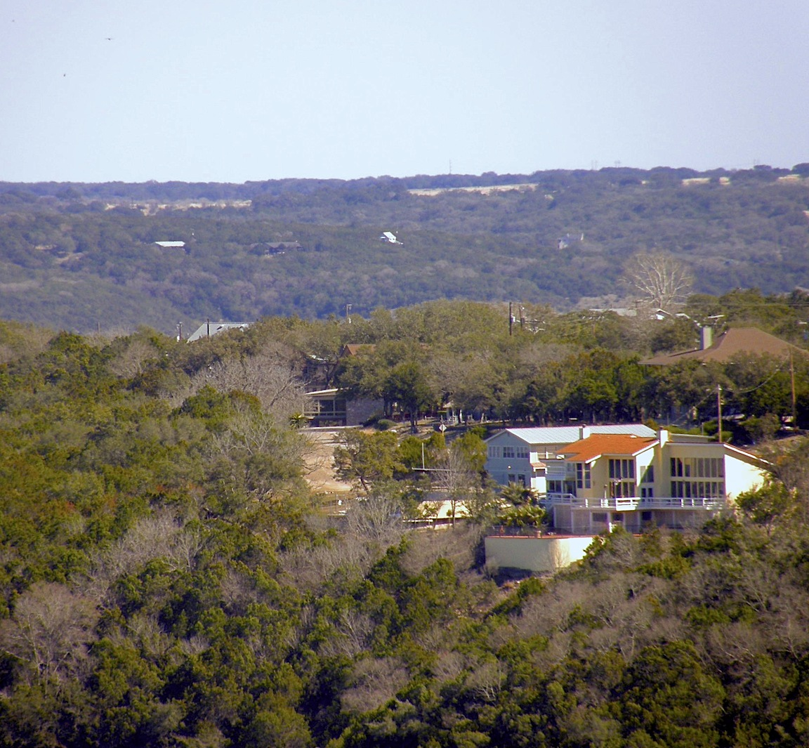 Telephoto lens view of our Clubhouse, taken from atop triple peak