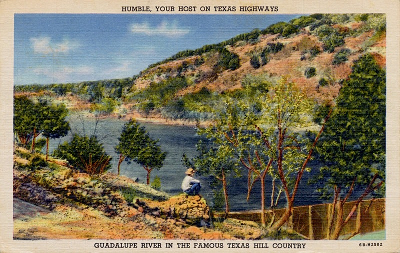 Very Old Postcard, from '20s or '30s, of Guadalupe River