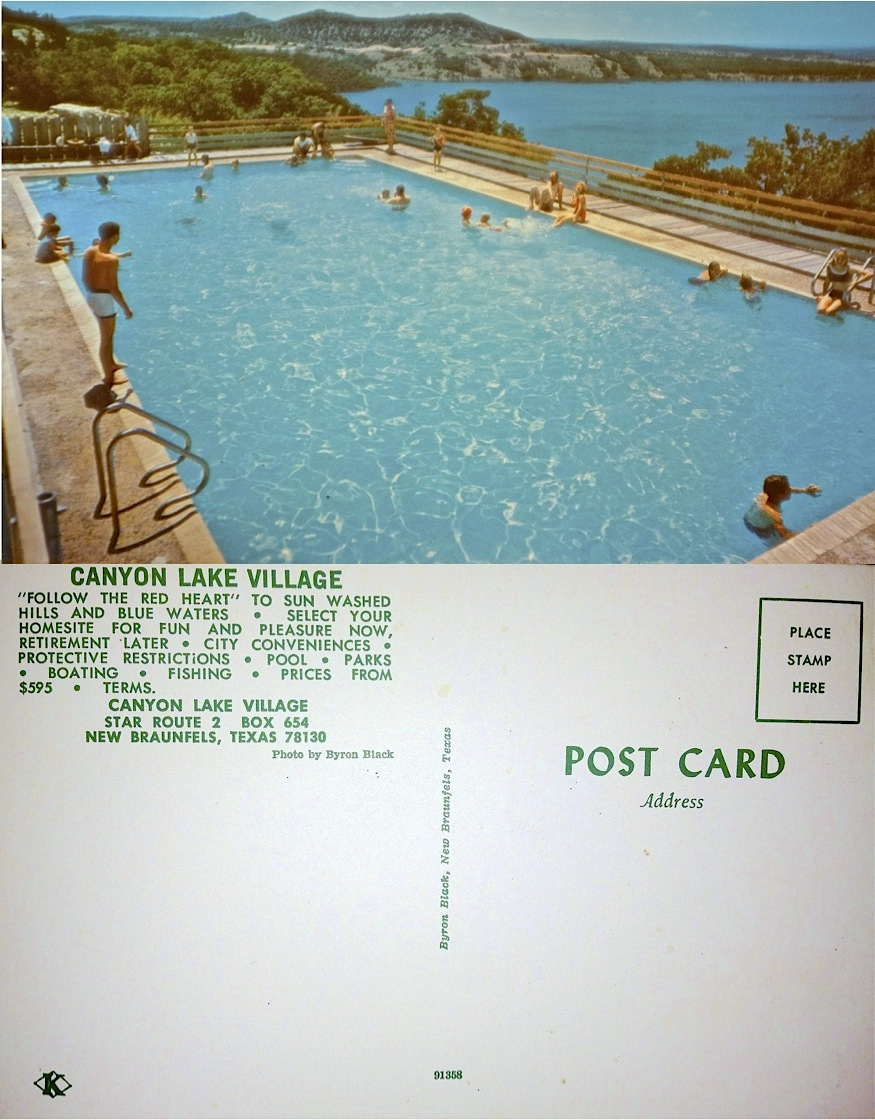 OLD 1960's Postcard of The Village Pool --  used as a marketing tool for Village lots.