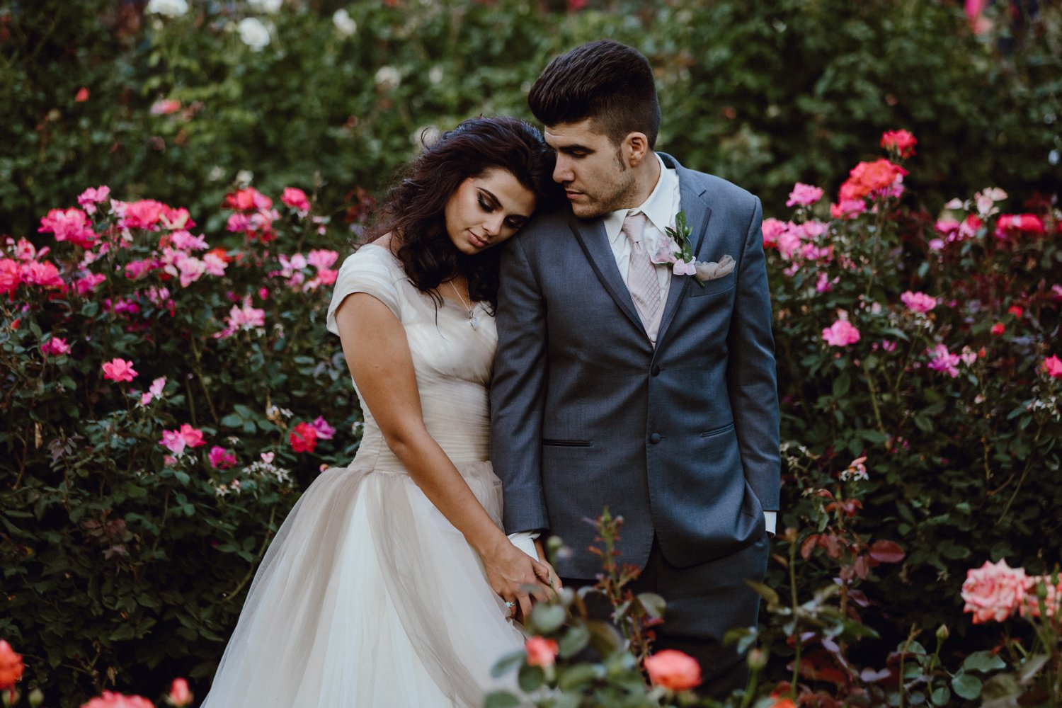 Portland Rose Garden wedding photo of the bride and groom by Catalina Jean