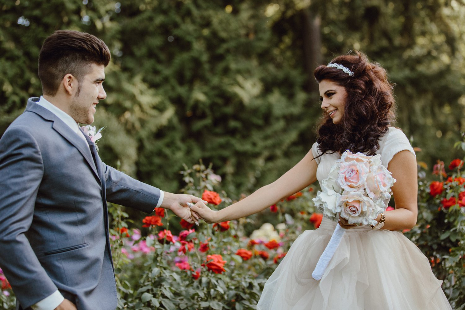 A bride and groom see each other for the first time