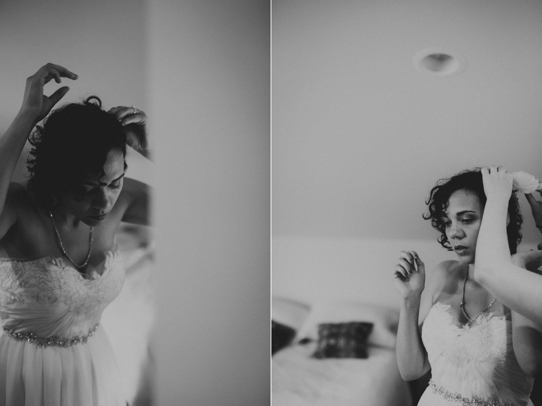 The bride getting ready for her Lummi Island wedding captured by Portland Wedding Photographer Catalina Jean