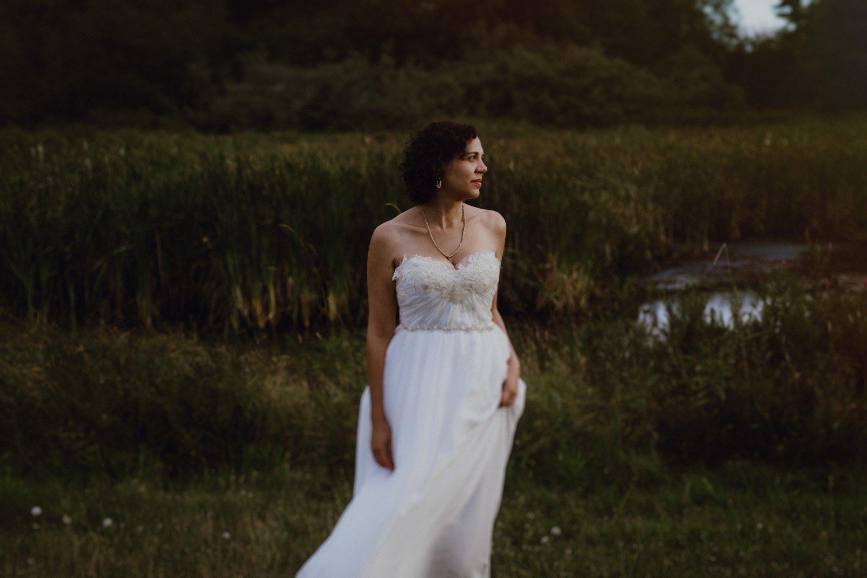 A bride in her Sarah Seven wedding dress