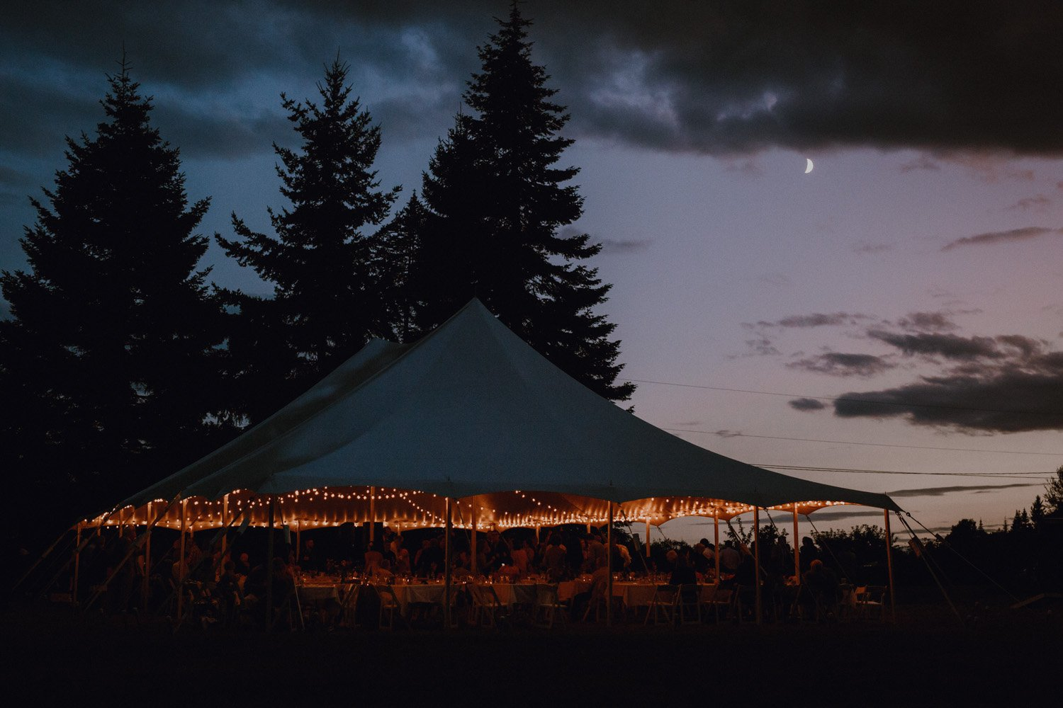 The reception area at sunset at The Big House on Lummi Island