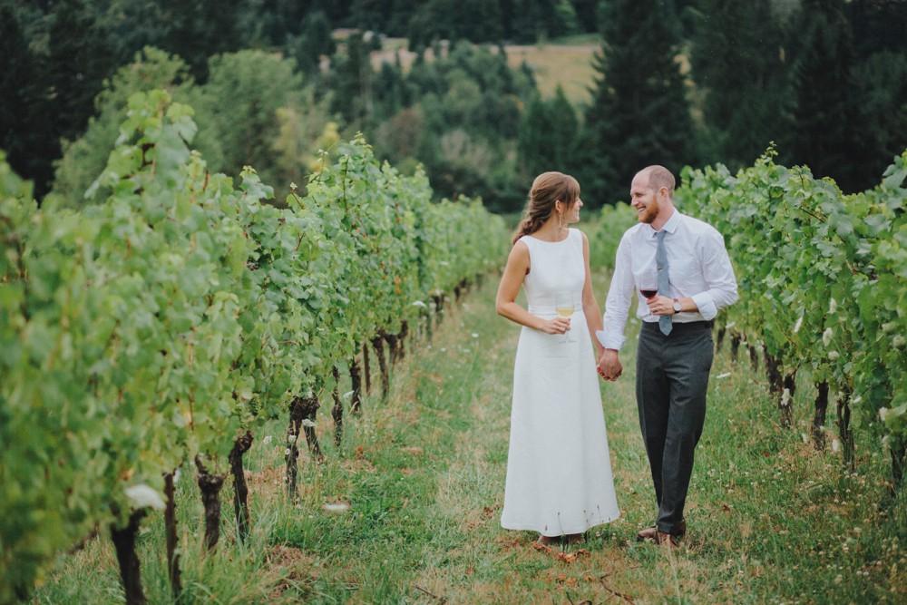 Bride and groom at their vineyard wedding reception.