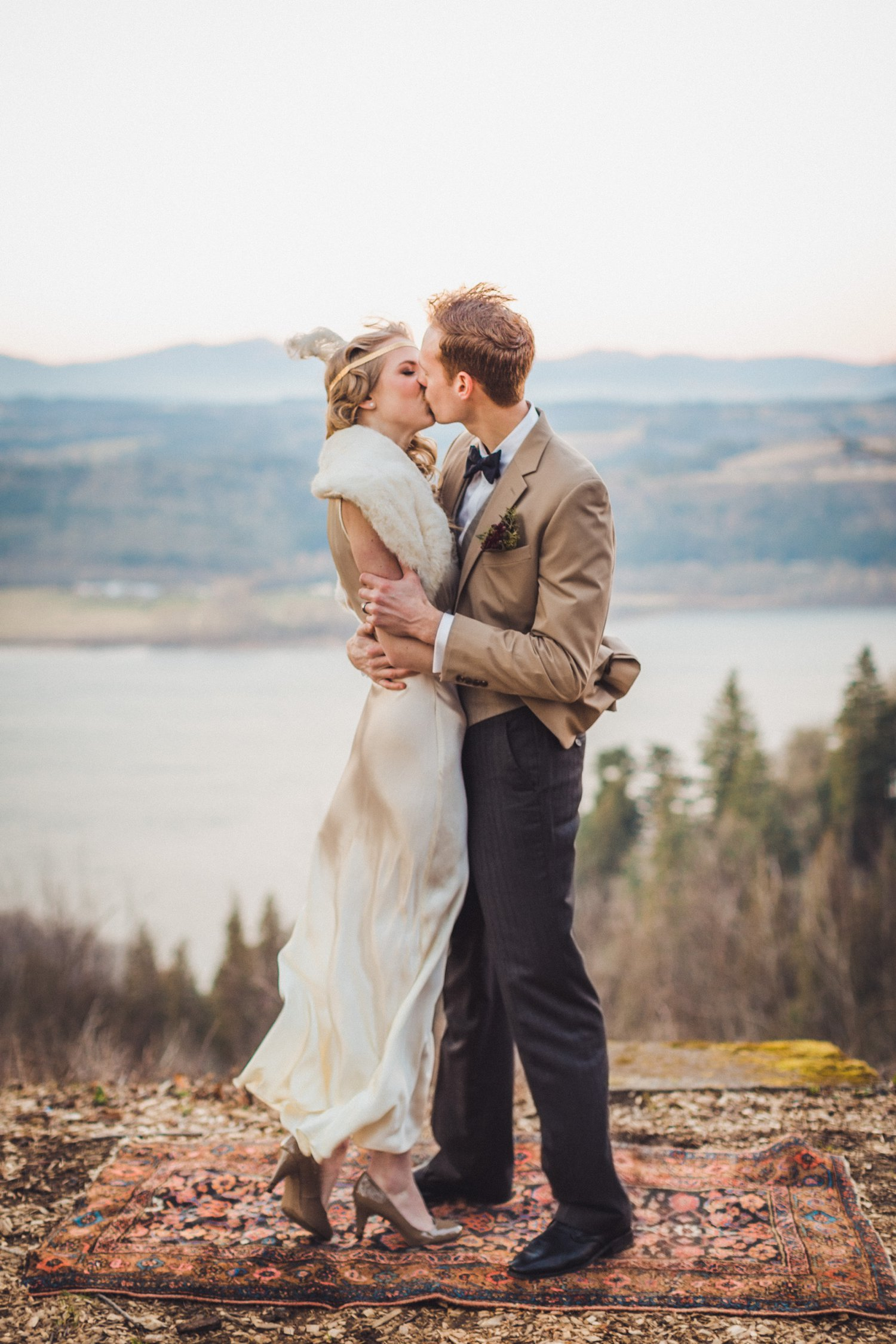 The first kiss by Portland Oregon Wedding Photographer Catalina Jean